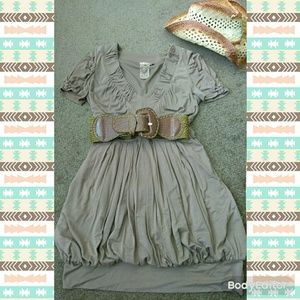Taupe Bubble Hem Fall Fashion Dress